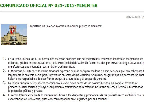 Ministerio del interior dos polic as heridos por armas de for Ministerio del interior peru